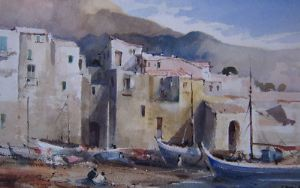 J Barrie Haste - Cefalu, Sicily, Italy - Watercolour